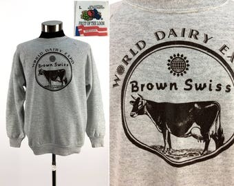Vintage 90s World Dairy Expo BROWN SWISS Pullover Sweatshirt LARGE // Livestock // Agriculture // Farming // Cow // Cattle // 4-H // L