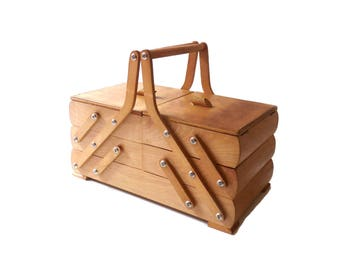 Sewing Box Vintage French Vintage Wooden Sewing Box Accordion Sewing Box 1950s