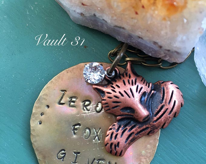 Stamped metal necklace, Zero Fox Given, Fox Jewelry, fox necklace, stamped text jewelry, best friend gift, give zero fox