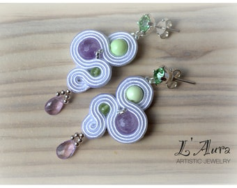 Soutache Earrings, Handmade Earrings, Hand Embroidered, Soutache Jewelry, Handmade in Italy, OOAK
