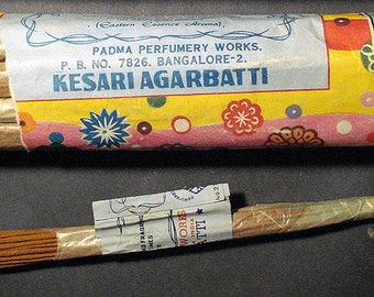 Vintage Padma Kesari incense from the 1970s -80s (outer packaging is different... see photos) ... each package contains a dozen 10gm packets