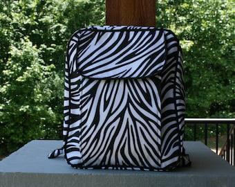 Girls Personalized Small Backpack Zebra Print Monogrammed Knapsack Purse Backpack