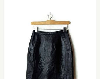 ON SALE Vintage High waist Black Leather Pencil skirt from 1980's/W23*