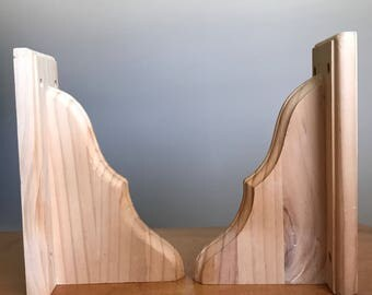 "Pair CORBELS, BRACKETS, Vintage Unfinished Pine Wood Corbels Shelf Brackets 9"" x 5 3/4"" x 3 1/2"", Home Decor Decorating Renovation Ideas"