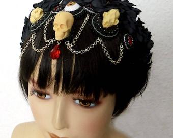 Headpiece, Headdress, Gothic, Goth, Bead Embroidery, Resin