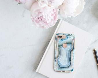 Agata Azzurra and Rose Gold Case Otterbox Symmetry iPhone 6 / iPhone 7 / iPhone 8 / iPhone X - Platinum Edition - Precious Stones Collection