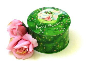 April Showers Dusting Powder in Tin with puff