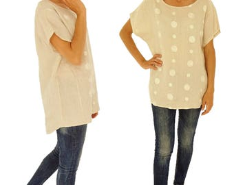 IE200BG ladies blouse linen tunic, linen embroidered one size beige Gr. 38 40 42 44