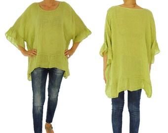 HZ300GN ladies blouse linen gauze tunic frill Gr. 40 42 44 46 48 kiwi Green