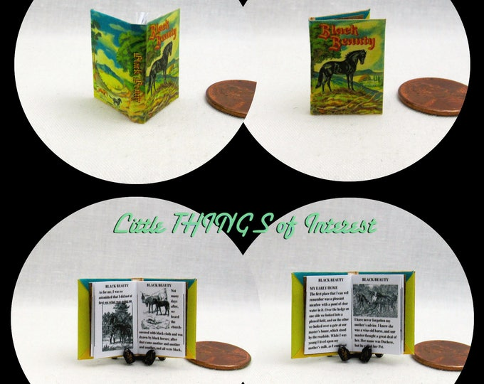 BLACK BEAUTY HORSE Book Dollhouse Miniature Book 1:12 Scale Illustrated Readable Book