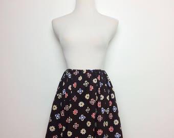 Vintage 70s Skirt/ 70s Checkered Print Mini Skirt/ Small Medium Large