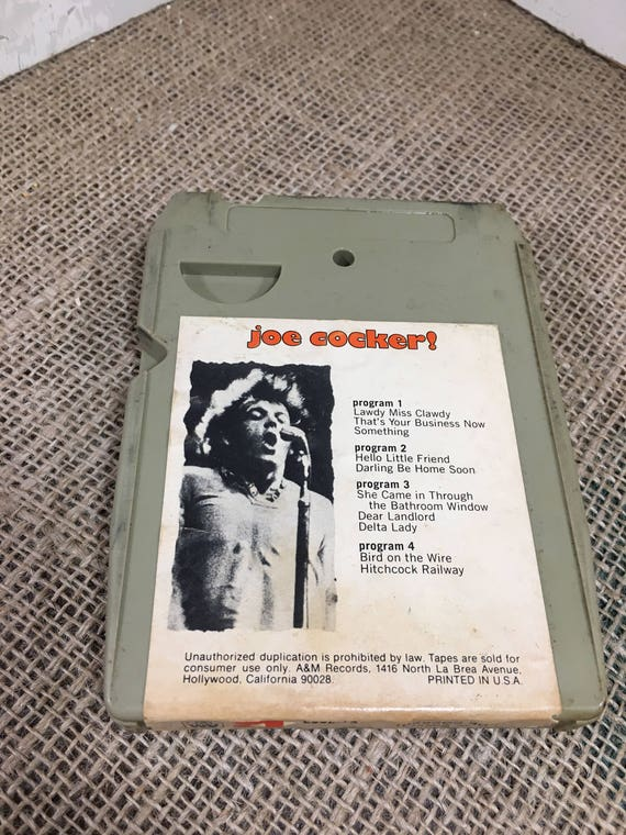 Joe Cocker 8 track tape, vintage 8 track, Lawdy Miss Clawdy, Hello LIttle Firend, Bird on the Wire, Hitchcock Railway, money back guarantee