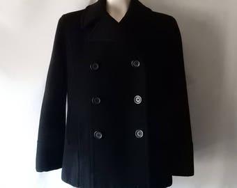 Sz LP Wool Pea Coat Jacket - Black - Worthington - Size 10 12 Petite - Casual - Winter Warm -