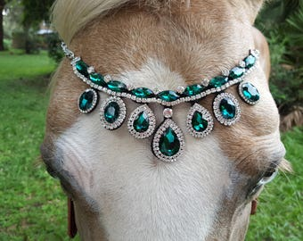 Faux Emeralds Browband for Horse, Draft or Pony - Equine Bling Tack Jewelry - Metal and Rhinestones Brow Band