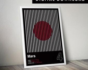 MARS (Printable Poster, Modern Wall Art, Graphic Poster, Mars Poster, Geometric Poster)