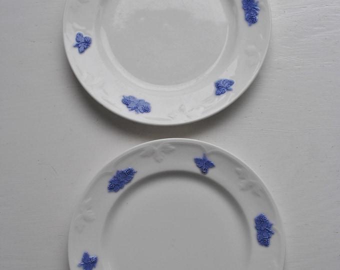 "Swedish Gustavsberg Blå Blom Bread Plates Set of 2 Vintage 6 1/2"""