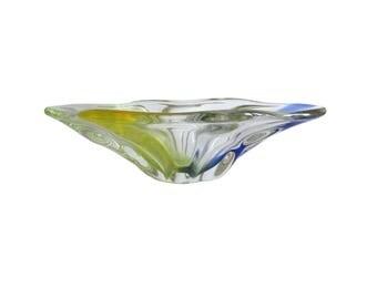 Ciotola di vetro di arte modernista di Napochim Romania - grande + 2 kg gialla e blu art glass bowl con etichetta - vetro di arte rumena