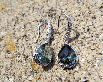 Rhodium Plated Smokey Gray Green Faceted Dangle Earrings