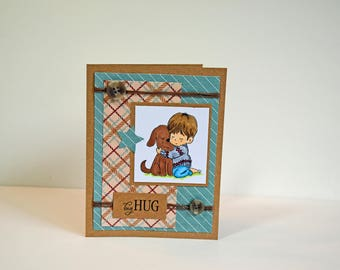 My Dear Puppy - Handmade Card -  Big Hug from a Little Boy - Card is ready to ship