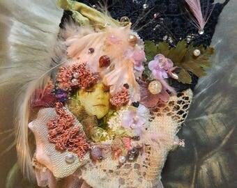 Wrist cuff bohemian glass beaded and ornated fairy