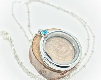 30mm Floating Locket - Beaded silver chain with light blue crystal
