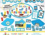 Princess and Superhero Printable Party Kit | Princess Superhero Invite & Decorations | INSTANT DOWNLOAD and Edit in Adobe Reader