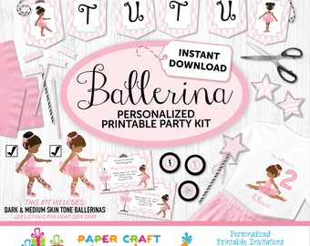 Ballerina Printable Party Kit | Ballerina Invite & Decorations | INSTANT DOWNLOAD-Edit in Adobe Reader | Prima Ballerina | African American