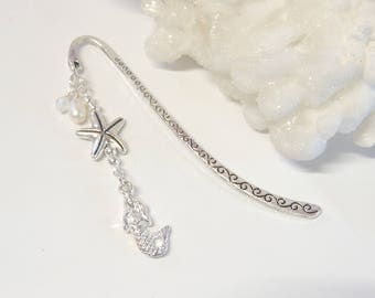 Mermaid Starfish Pearl Bookmark, Metal Bookmarks, Mermaid Bookmark, Nautical Beach Bookmark, Mermaid Lover Gift, Teacher Gift