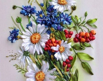Embroidered picture ,  Silk ribbon embroidery, wildflowers, ribbonwork