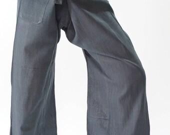 HW0008 Handwoven Cotton Fisherman Pants Wide Leg pants, Wrap pants, Unisex pants