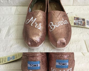 Mrs Weddings Toms. FREE CUSTOMIZATION. [Rose Gold Shoes] Rose Gold Glitter Toms. Can be made into Rose Gold Vans or Rose Gold Converse.