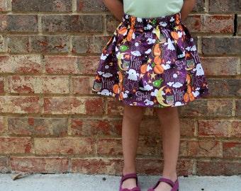 Halloween Boo! Girls Cotton Skirt, Halloween Print Girls Skirt, Knee Length Skirt, Toddler, Baby Skirt, Basics, Toddler Skirt, Pumpkins