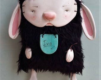 Art Doll, Ivo the monster, rabbit clay doll, wall deco.