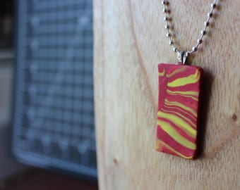 Red and yellow Marbled polymer clay necklace
