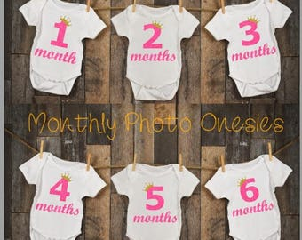 12 LITTLE PRINCESS Monthly Personalized Girl Photo Bodysuit Baby Shower Set - Glittery Pink numbers and Sparkly Gold Crown