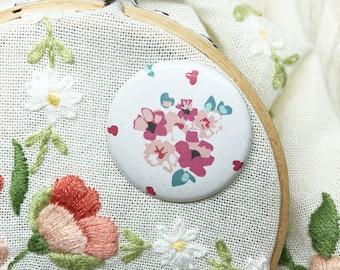 Embroidery Supplies - Cross Stitch - Needle Minder - Needle Holder - Needle Nanny - Magnet - Needle Keeper - Pink Flowers Needle Minder