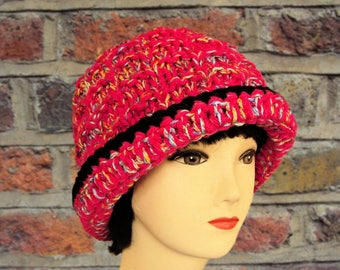 Fedora Hat, Women's Fedora, Hot Pink Fedora, Pink Hat, Winter Hat, Hand Knitted, Hats for Women, Brim Hat, Winter Accessories, Gifts for Her