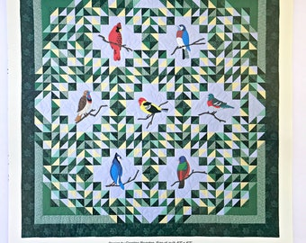 Treetop Serendade Quilt Pattern by Caroline Reardon Design, 1990, Bird Quilt Pattern, Pieced and Applique Birds, Wall Hanging,Curry Bungalow