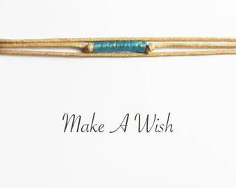 Make A Wish Bracelet - Ocean Blue & Sand - Boho Jewellery - Bohemian Jewellery - Friendship Bracelet