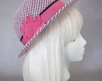 Purple Straw Hat w/ Pink Ribbon. Lavender Porkpie. Women's Summer Pork Pie Hat. Light Purple and White Ladies Fedora. Handmade Millinery.