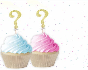 Question Mark Cupcake Toppers - Baby shower cupcake toppers, Gender Reveal Cupcake Toppers, Gender Reveal Party, ? Cupcake Toppers