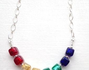 Venetian Murano glass necklace, Rainbow necklace, rainbow jewelry, gay pride jewelry,  LGBT Jewelry, colorful jewelry, Rainbow