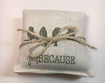 Just Because~LINEN~SET Of 3~Organic Lemongrass U0026 Flax~Sachet Set