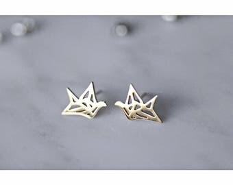 Origami Crane Stud Earrings, Origami Crane, Rose Gold, Silver, Origami, Bird, Gift For Her, Oorbellen, Surgical Steel, Titanium Earrings