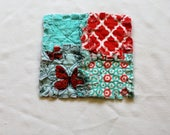 Mini Raggedy Loveys ~ Sensory Blankets ~ Baby Girl ~ Teal and Coral ~ Butterflies
