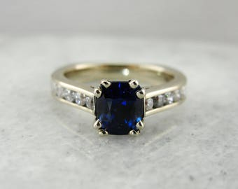 Cushion Cut Blue Sapphire Engagement Ring with Channel Set Diamonds in White Gold,R3L2KX-P