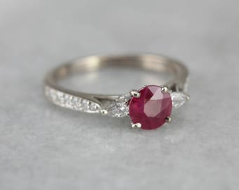 Ruby Engagement Ring, Ruby and Diamond, Anniversary Ring 3JTCWT-P