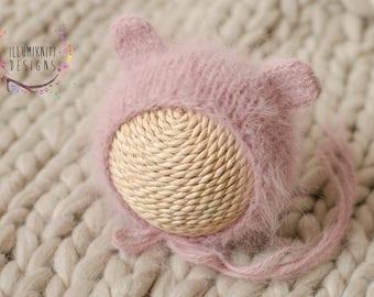 RTS - Mauve Newborn Bear Bonnet - Pink Newborn Bear Bonnet - Knit Angora Bear Bonnet - Newborn Photography Prop Knit French Angora Bonnet