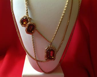 Vintage Extra Long Necklace & Earring Set-Amber Color