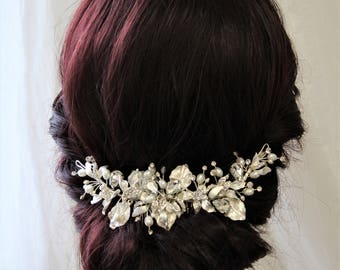 Wedding Hair Comb With Leaves, Bridal Back Headpiece, Wedding Hair Piece,  Bridal  Hair comb, Wedding Headpiece ,Bridal Hair Accessories, UK